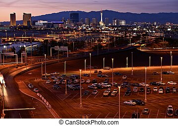 Las Vegas Skyline in Sunset - Vegas Strip - Entertainment...
