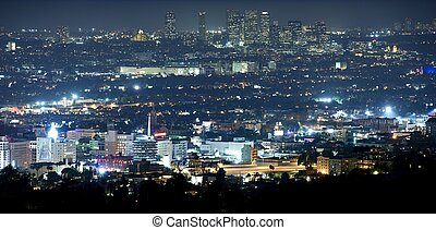 Beverly Hills at Night - Panoramic Night Time Photography...