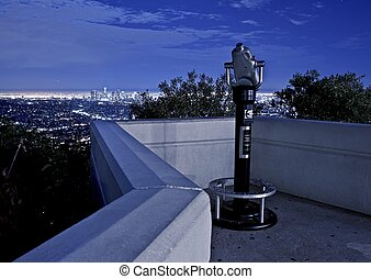 Los Angeles View Point with Binoculars. Los Angeles At...