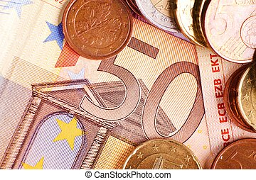 Fifty Euros - Euro Money Bill and Coins Financial Photo...