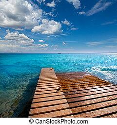 Formentera Mitjorn beach with turquoise Mediterranean -...