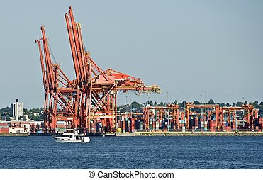 Harbor Cranes. Cargo Containers Harbor in Vancouver, BC,...
