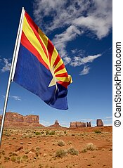 Arizona Flag and Lands - Monument Valley, Arizona, USA...