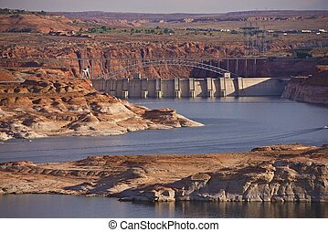 Glen Canyon Dam Arizona - Lake Powell Reservoir Landscape....