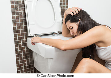 mujer, vomitar, servicio, tazón