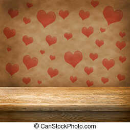 Empty table - Empty wooden deck table with love background....