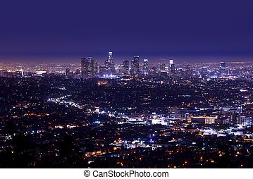 Los Angeles Night Skyline Aerial Photography Los Angeles,...