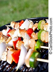 Chicken Kebob Grill Chicken Shashlik Kebob with Vegetables...