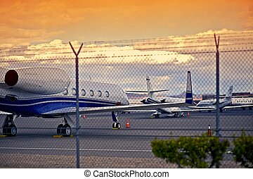 Airport with Jet Planes - Airport with Small Jet Planes. Air...