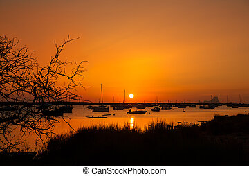 Formentera sunset in Estany des Peix with Ibiza Es vedra