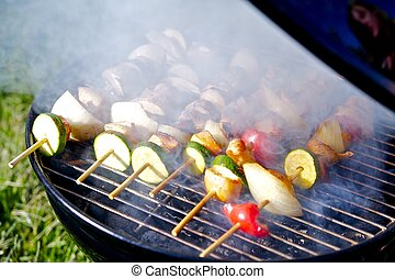 Chicken Shish Kabobs on the Grill Prepare on Grill. Food...