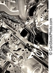 Shiny Engine Closeup. Powerful and Economic Vehicle...