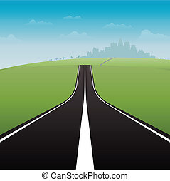 Road to City - Vector illustration of a long road to the...