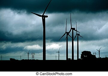 Wind Turbines Theme - Wind Turbines Stormy Theme. Dark...