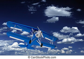 Blue Biplane on the Sky. 3D Render Blue Biplane...