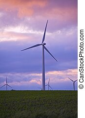Future Power Sunset - Future Power - Sunset. Wind Turbines...