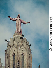 statue Jesus Christ on Church Sacred Heart.Tibidabo....