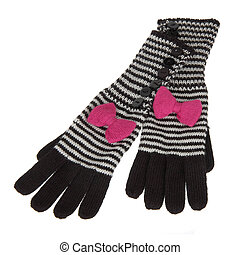 striped woolen gloves isolated on white