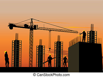 Silhouette of construction site with workers and scaffolding...