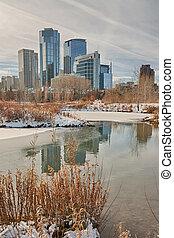 Calgary City in the Winter - A cityscape of Calgary, Alberta...