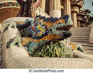 Lizard in Park Guell in Barcelona, Spain.
