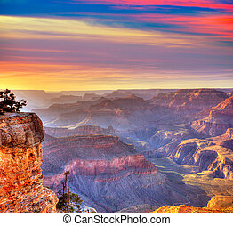 Arizona, Coucher soleil, Grandiose, canyon, national, Parc,...