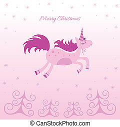 Christmas card with a dreamy horse