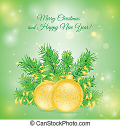Christmas card with two balls