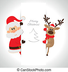 Santa Claus and reindeer with space for text