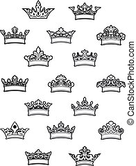 Ornated heraldic crowns set for heraldry design