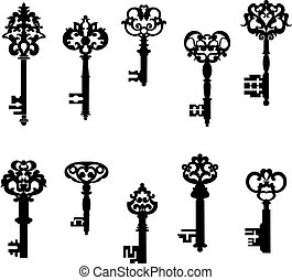 Antique keys set in retro style isolated on white background