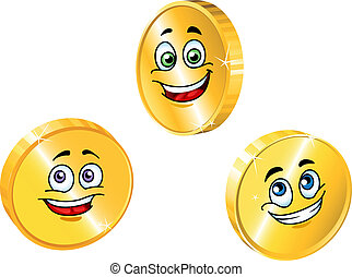 Golden smiling coins set in cartoon style for business...