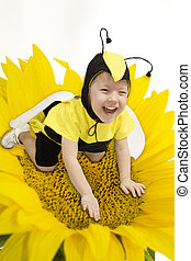 Honey Bee - Cute little girl in bumble bee costume.