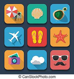 Summer traveling Flat design icons set - Summer traveling...