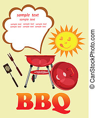 bbq card. - bbq objects text and funny face of sun on the...