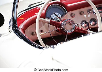 Oldtimer Interior - Vintage American Vehicle Red-White...
