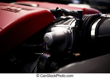 Powerful Car Engine. Red Engine Top Cover. Transportation...