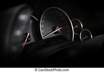 Car Dashboard - Vehicle Instruments. Speedometer in the...