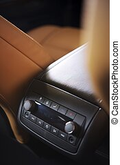 Rear Car Audio System. FM Radio on Display. Modern SUV Audio...