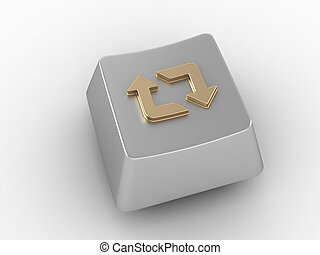 Keyboard key with gold loop arrows sign - Silver keyboard...