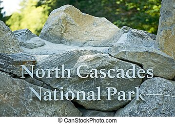 North Cascades National Park Entrance Rock Sign United...