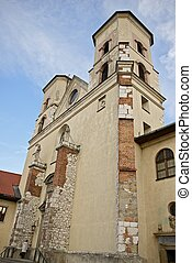 Abbey Towers in Tyniec. The Benedictine Abbey in Cracow,...