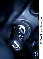 Car Ignition Keys - Car Keys in Ignition - Studio Closeup...