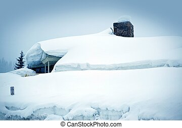Heavy Snow Storm. Building Covered by Few Feet of Snow....