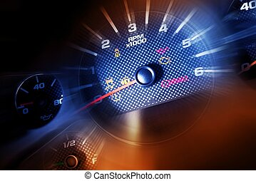 Sport Car Dash Dials. RPM, Oil Meter, Speedometer and...