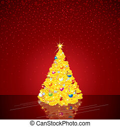 Christmas Background with Bright Christmas Tree
