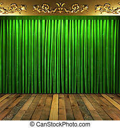 green fabric curtain with gold on stage