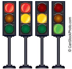 Set of Traffic Lights Variation. Vector