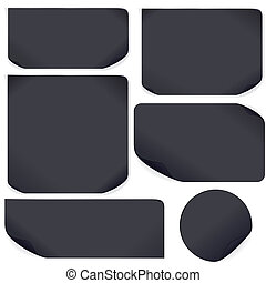Black Paper Stickers. Set For Your Text and Design
