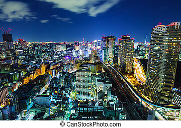 Cityscape in Tokyo at night